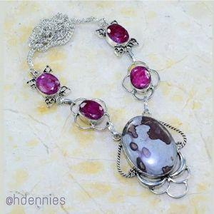 Cherry Ruby & Spot Jasper 925SS Necklace